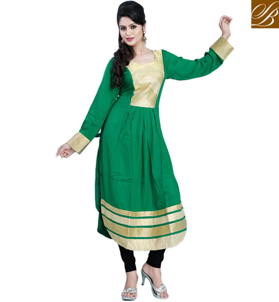 GLAMOROUS GREEN DESIGNER COTTON PAKISTANI STYLE LONG KURTI CFAK9007