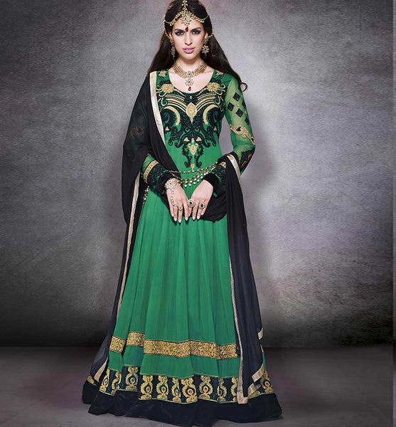 GLAMOROUS GREEN EUROPEAN GOWN STYLE DRESS RTNV9007 - STYLISHBAZAAR - Latest anarkali suits, anarkali dress designs, designer anarkali, anarkali dresses online, anarkali suits, salwar kameez online, Anarkali Dresses