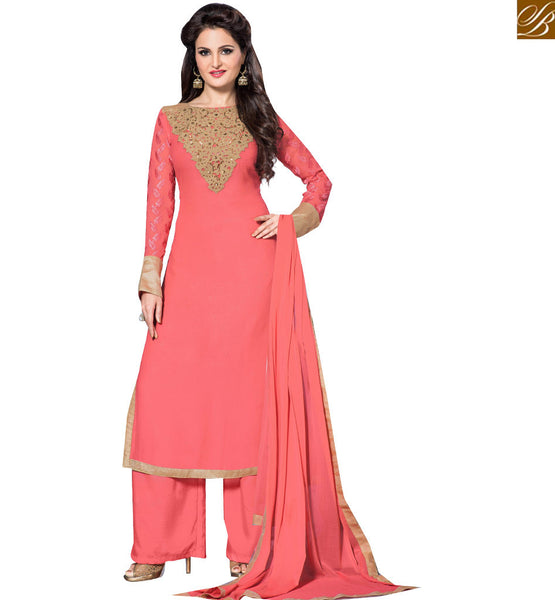 BOLLYWOOD DIVA MONICA BEDI IN CAPTIVATING PINK SALWAAR KAMEEZ VDHNY9007 BY STYLISH BAZAAR