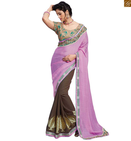 STYLISH BAZAAR INTRODUCES CAPTIVATING DESIGNER BROWN CHIFFON SAREE RTBAJ9008