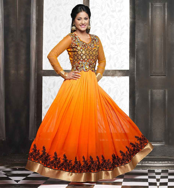 AKSHARA HINA KHAN SHADED GOWN LOOK PARTY WEAR ANARKALI COLLECTION