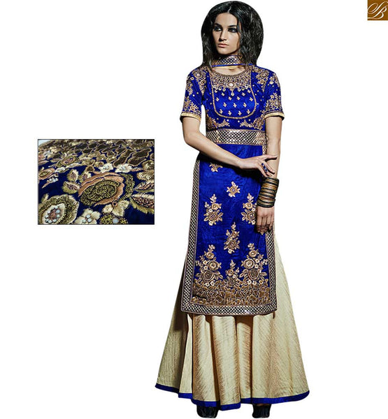 Blue velvet strength style top with pakistani style plazzo blue velvet top with mirror work and heavy hand work. Beige net jardosi and stone work with silk palazzo pant Image