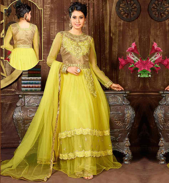 SHOP ONLINE STYLISH INDIAN ANARKALI DRESS VDKSH9008 BE AT YOUR BEAUTIFUL BEST BY WEARING THIS YELLOW COLOR NET MATERIAL FLOOR LENGTH GOWN STYLE LAYERED LOOK ANARKALI
