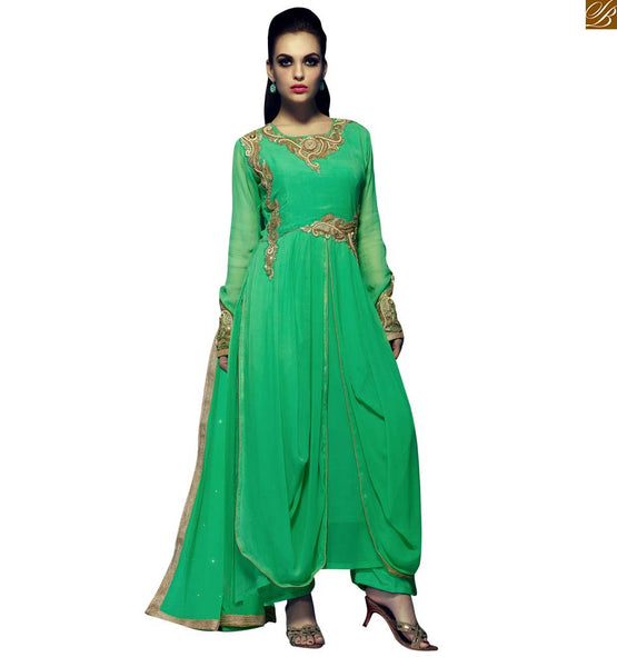 STYLISH BAZAAR IMPRESSIVE SEA GREEN PARTY WEAR SALWAR KAMEEZ RTRIN9008