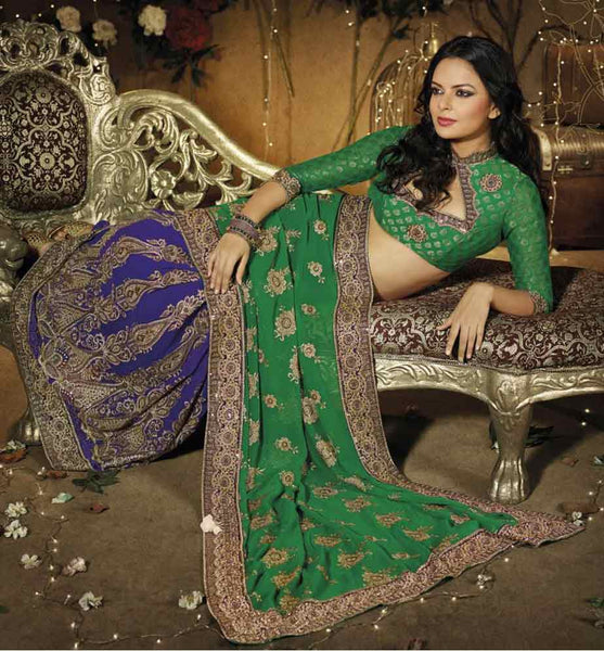 ASTONISHING GREEN AND BLUE DESIGNER PARTY WEAR SAREE
