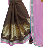 FROM STYLISH BAZAAR CAPTIVATING DESIGNER BROWN CHIFFON SAREE RTBAJ9008