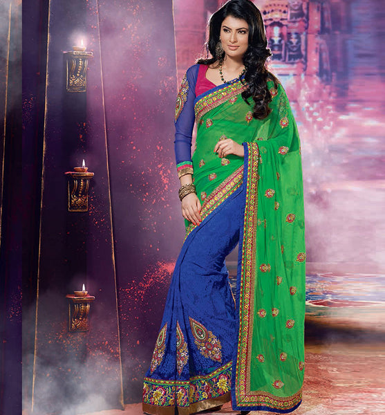 EYE-CATCHING SAYALI BHAGAT GREEN & BLUE SAREE RTJL9008 - STYLISHBAZAAR - SAYALI BHAGAT, SAYALI BHAGAT Collection, buy designer sarees online, designer Sarees Online Shopping, designer sarees buy online, designer saree buy online, buy online designer sarees, Indian Designer Sarees