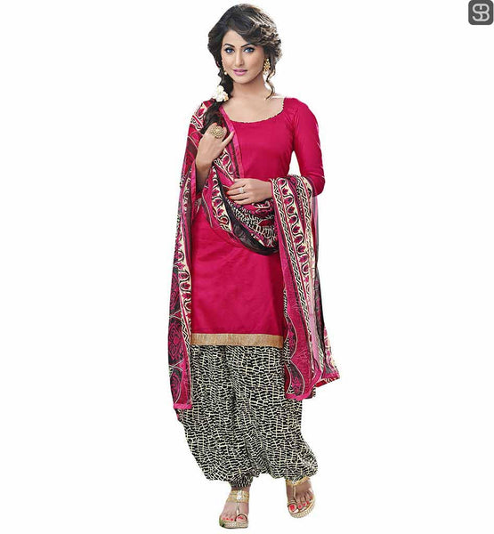 BOLLYWOOD DESIGNER SALWAR KAMEEZ FOR CELEBRITIES STYLISH PUNJABI SUITS DASHING DIVA HINA KHAN AKA ASKHARA COTTON DRESS WITH PRINTED CHIFFON DUPATTA