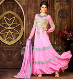 NEW STYLISH ANARKALI DRESSES BUY AT BEST PRICE PLEASING PINK SHADE NET MATERIAL SUIT WITH SANTOON SALWAR AND NET