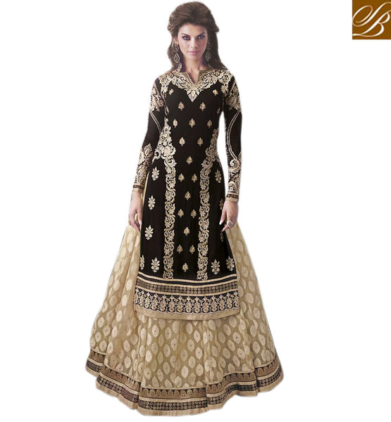 ZOYA COLLECTIONS BEAUTIFUL BLACK AND CREAM GEORGETTE & BRASSO LEHENGA SUIT PFZY9009