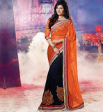 OUTSTANDING ORANGE & BLACK  SAYALI BHAGAT SAREE RTJL9009 - stylishbaazaar - SAYALI BHAGAT, SAYALI BHAGAT Collection, latest bollywood sarees, bollywood sarees online, Bollywood Designer Sarees, buy bollywood sarees Online, indian sari