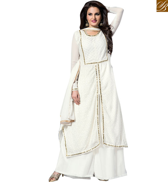 LEADING ACTRESSES MONICA BEDI IN CLASSY DESIGNER SALWAAR KAMEEZ VDHNY9009 BY OFF WHITE
