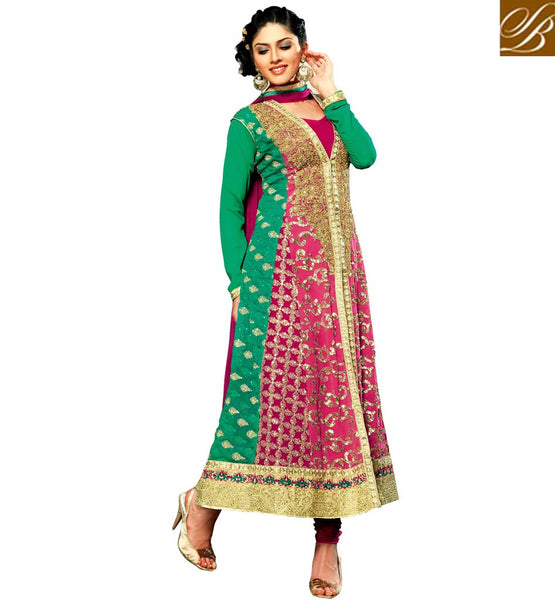 PURCHASE INDIAN SALWAR KAMEEZ DESIGNS FOR WOMEN GREEN AND PINK GEORGETTE ANARKALI WITH SANTOON SALWAR AND CHIFFON DUPATTA