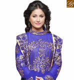 TELEVISION CELEB HINA KHAN BLUE ANARKALI SUIT WITH DUAL DUPATTA