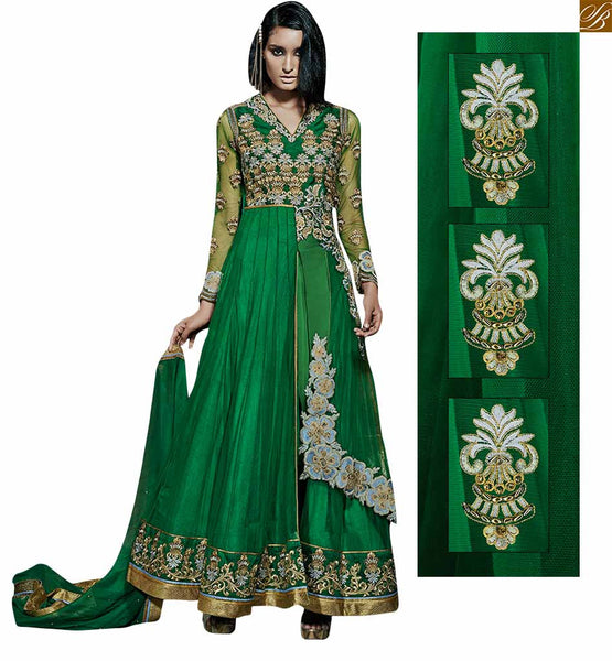 Green net layered green anarkali with floral embroidery green net fancy floral embroidered work and heavy khatli worked anarkali salwar kameez Image