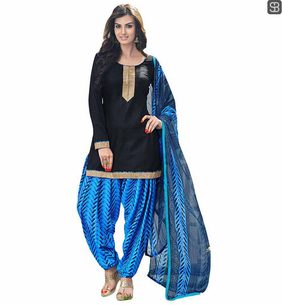 PATIALA SALWAR KAMEEZ NECK DESIGNS INDIAN FASHION SIMPLE SUIT DESIGN GO ETHNIC IN THIS BLACK COTTON KURTI WITH BLUE SALWAR AND PRINTED DUPATTA
