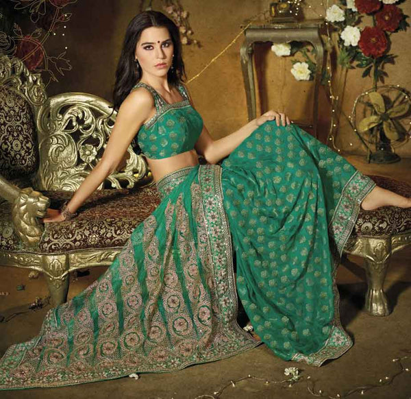 STYLISH SEA-GREEN DESIGNER PARTY WEAR SAREE