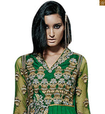 Green pure-bemberg-chiffon stone worked dupatta. Heavy embroidery border patta on lower part and lace border. photo