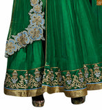 Green net layered green anarkali with floral embroidery green net fancy floral embroidered work and heavy khatli worked anarkali salwar kameez pIc