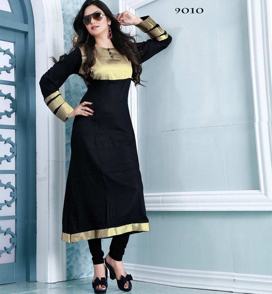 BEWITCHING BLACK DESIGNER COTTON LONG KURTI CFAK9010