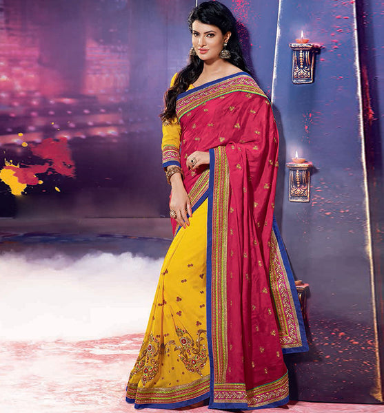 PEPPY PINK & YELLOW SAYALI BHAGAT SAREE RTJL9010 - stylishbazaar - SAYALI BHAGAT, BOLLYWOOD SAREES, JALPA Collection, buy sarees online UK, buy sarees UK, buy sarees USA, Sarees , Designer Saris, Online saree Collection, Online Shopping Website
