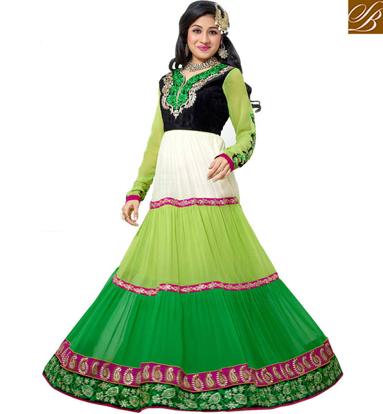 VINTAGE LOOK PARTY WEAR ANARKALI SALWAR KAMEEZ SUITS WITH DUPATTA