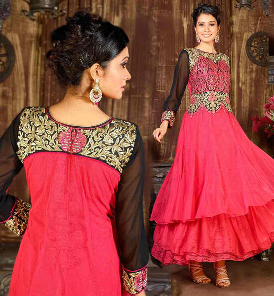 ANARKALI DESIGNER SUITS FOR FASHION LOVING WOMEN VDKSH9011 DAZZLING DUSTY PINK NET MATERIAL DUAL LAYERED STYLE GOWN STYLE ANARKLAI DRESS
