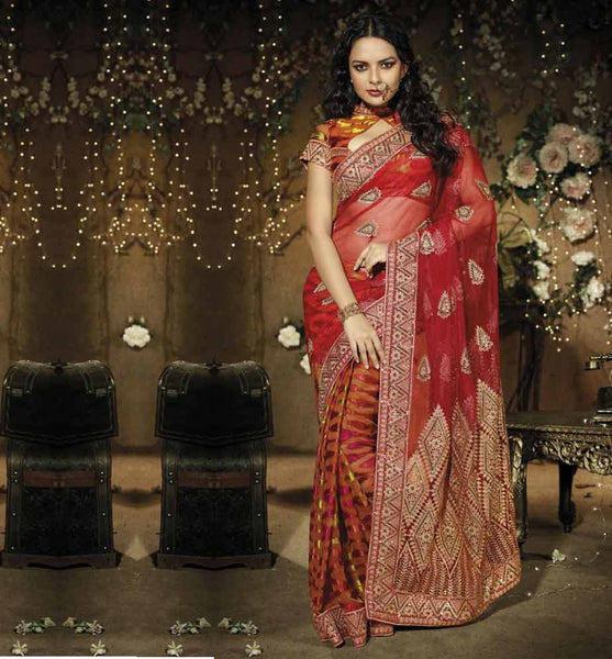BEAUTIFUL SHADED DESIGNER PARTY WEAR SAREE