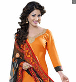YELLOW AND BLACK COMBINATION SALWAR SUIT MODELED BY TV SERIAL HEROINE HINA KHAN GORGEOUS SUIT HAS COPPER COLOR ZARI LACE PATCH WORK AT NECK LINE AND BLACK COLOR PATCH WORK AT SLEEVES