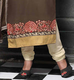 LONG EMBROIDERED KURTI WITH TIGHT CHURIDAR SALWAR