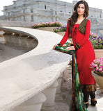 lovely red colour cotton salwar kameez suit