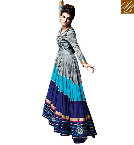 LATEST DESIGNER GREY & BLUE GOWN STYLE SALWAR KAMEEZ WITH DUPATTA