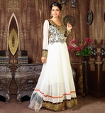 ANARKALI DRESSES ONLINE SHOPPING PAY ON DELIVERY VDKSH9012 MAJESTIC OFF-WHITE SHADE GEORGETTE FABRIC FLOOR LENGTH STYLE ANARKALI