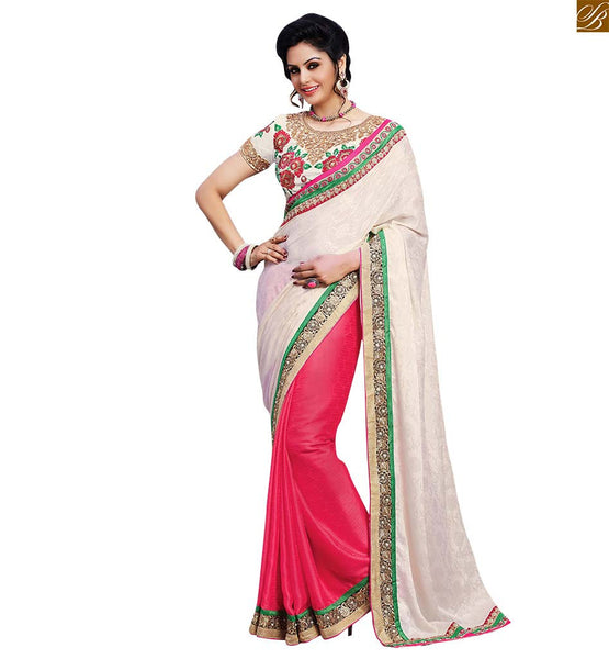 STYLISH BAZAAR INTRODUCES TRENDY CASUAL WEAR DESIGNER PINK SAREE AND WHITE BLOUSE RTBAJ9012