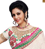 STYLISH BAZAAR TRENDY CASUAL WEAR DESIGNER PINK SAREE AND WHITE BLOUSE RTBAJ9012