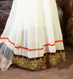 ENRICHED WITH OFF-WHITE AND GOLDEN COLOR EMBROIDERY ON NECK, BACK AND SLEEVES AND RICH LAYERED BOTTOM ON HEMLINE ANARKALI DRESSES ONLINE SHOPPING PAY ON DELIVERY VDKSH9012