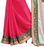 FROM STYLISH BAZAAR TRENDY CASUAL WEAR DESIGNER PINK SAREE AND WHITE BLOUSE RTBAJ9012