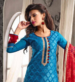 BLUE STRAIGHT CUT TOP, RED BOTTOM, RED DUPATTA, SHINY LACE ON NECKLINE & CRAFTY EMBROIDERY ON TOP ENHANCES BEAUTY & GLAMOUR OF DRESS WILL ATTRACT TO SHOP IT ONLINE.