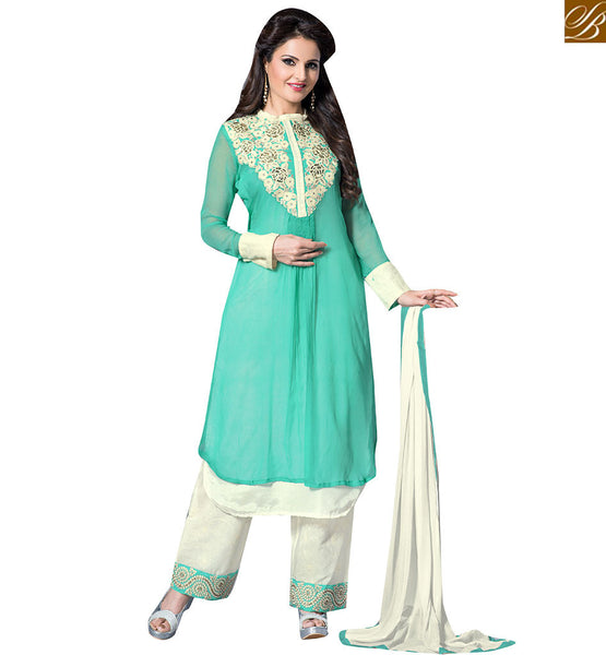 BOLLYWOOD STAR MONICA BEDI IN CHARMINGLY DESIGNED SALWAAR KAMEEZ VDHNY9012  BY GREEN & OFF WHITE