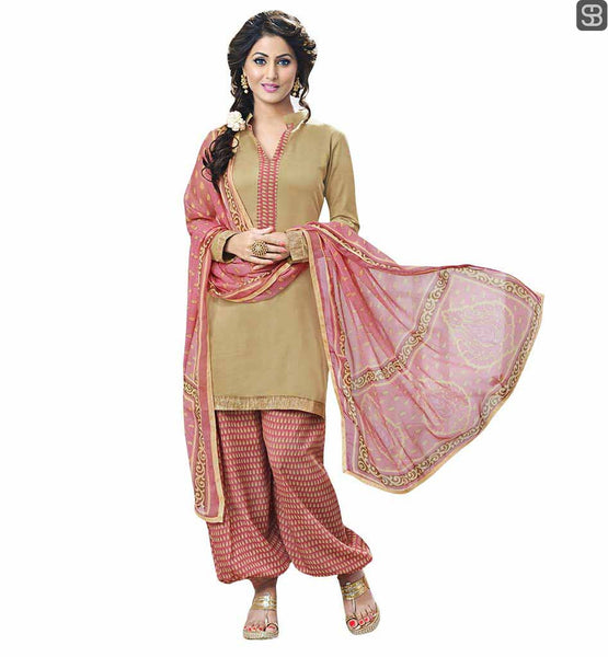 PUNJABI FASHION TREND FOLLOWED BY BOLLYWOOD ACTRESS WEARING SALWAR KAMEEZ TELEVISION CELEBRITY HINA KHAN BEIGE TOP WITH DUSTY PINK PRINTED SALWAR AND DUPATTA