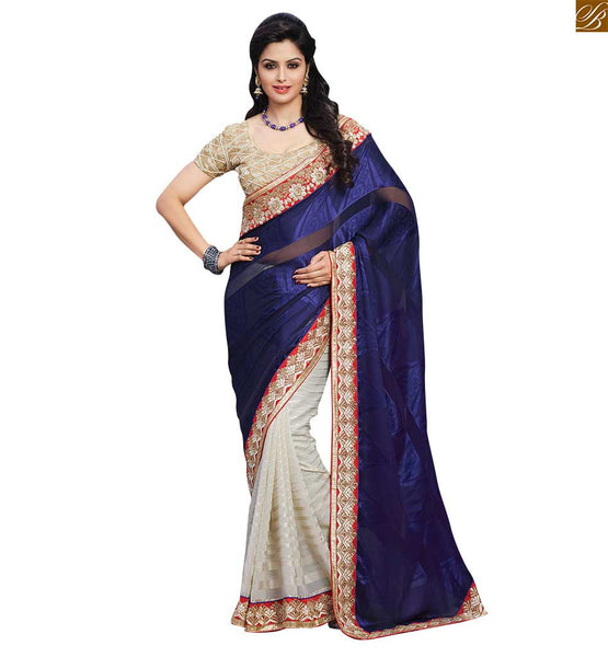 FROM STYLISH BAZAAR FASHIONABLE DESIGNER NAVY BLUE SARI ALONG WITH A BEIGE BLOUSE RTBAJ9013