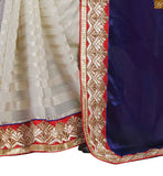 BROUGHT TO YOU BY STYLISH BAZAAR FASHIONABLE DESIGNER NAVY BLUE SARI ALONG WITH A BEIGE BLOUSE RTBAJ9013