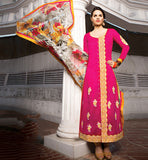 Pakistani style pink long salwar suit for women