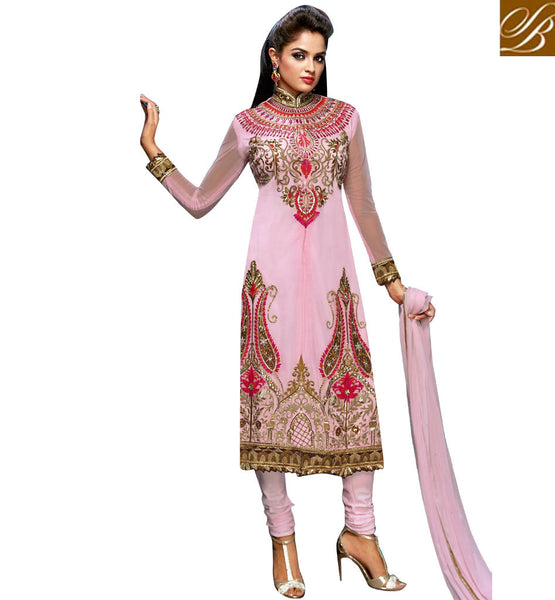 9013 BELA FASHIONS SURAT PINK ANARKALI DRESS