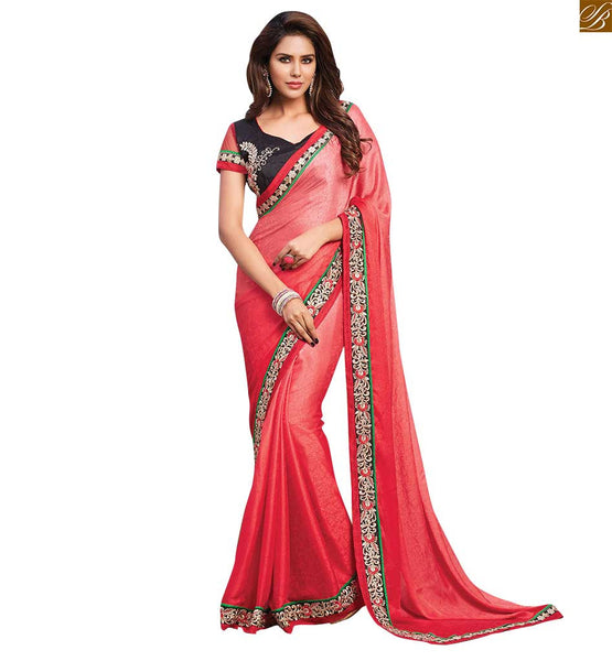 STYLISH BAZAAR PRESENTS RADIANT RED SAREE PERFECTLY MATCHED WITH DESIGNER BLACK BLOUSE RTBAJ9014