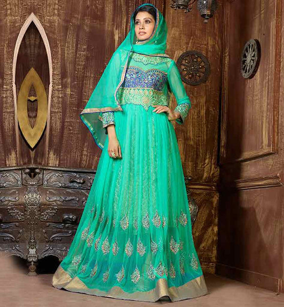 PURCHASE DESIGNER FLOOR LENGTH STYLISH ANARKALI VDKSH9014 LATEST FASHION STYLISH SKY-BLUE NET FABRIC SUIT WITH MATCHING SALWAR AND DUPATTA