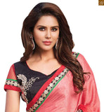 A STYLISH BAZAAR PRESENTATION RADIANT RED SAREE PERFECTLY MATCHED WITH DESIGNER BLACK BLOUSE RTBAJ9014