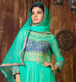 LATEST FASHION STYLISH SKY-BLUE NET FABRIC SUIT WITH MATCHING SALWAR AND DUPATTA THE DRESS HAS EXCITING DESIGNING ON THE NECKLINE, SLEEVES AND LOWER PORTION AND HAS LACE BORDER ODHNI