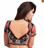 STYLISH BAZAAR INTRODUCES RADIANT RED SAREE PERFECTLY MATCHED WITH DESIGNER BLACK BLOUSE RTBAJ9014