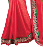 STYLISH BAZAAR RADIANT RED SAREE PERFECTLY MATCHED WITH DESIGNER BLACK BLOUSE RTBAJ9014